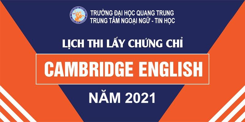Tổ chức kỳ thi chính thức các chứng chỉ tiếng Anh Cambridge đợt tháng 06/2021