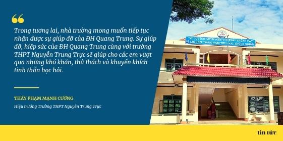 Thư cám ơn của Trường THPT Nguyễn Trung Trực (Phù Mỹ, Bình Định) gửi đến Trường ĐH Quang Trung