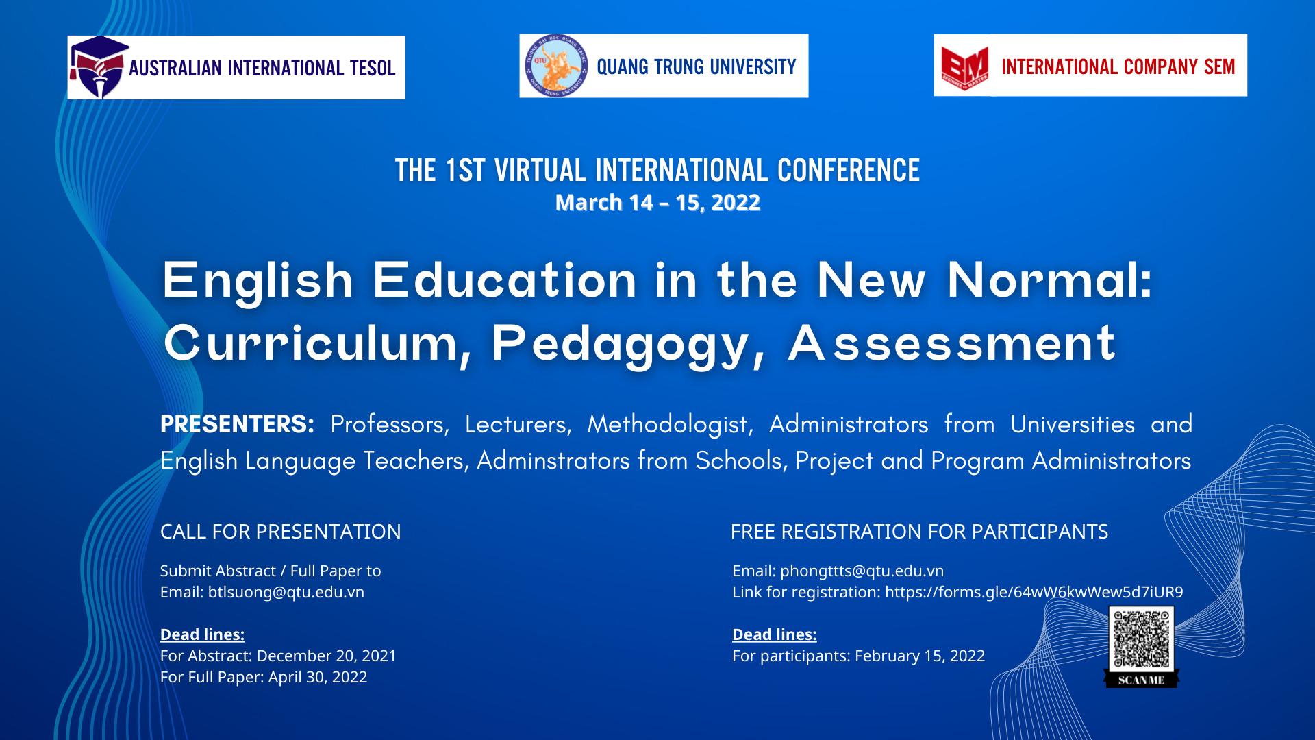 """Hội thảo Quốc tế về Giảng dạy tiếng Anh với chủ đề """"Giảng dạy tiếng Anh trong thời kỳ bình thường mới: Chương trình, phương pháp giảng dạy, đánh giá"""""""