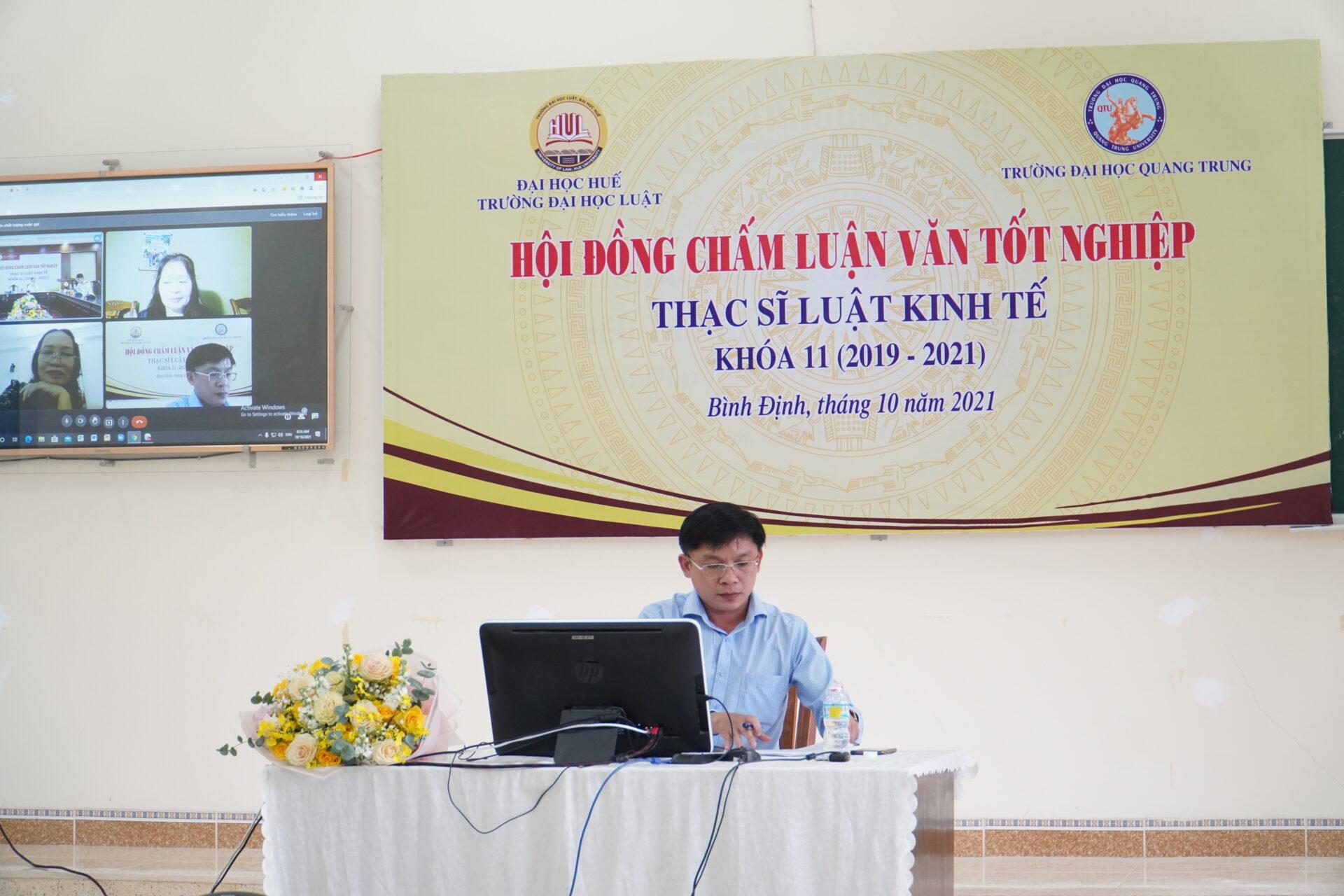 Trường ĐH Luật (Đại học Huế) phối hợp cùng Trường ĐH Quang Trung tổ chức Hội đồng chấm luận văn tốt nghiệp Thạc sĩ Luật tại Bình Định